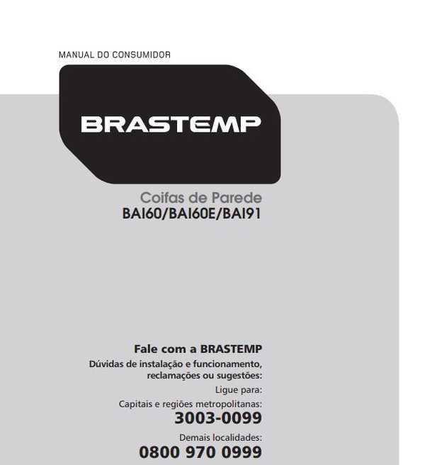 Manual de Operações da Coifa Brastemp 60 cm BAI60