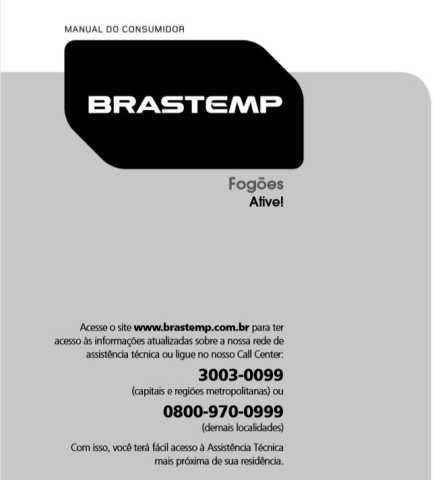 Manual de Operações do fogão Brastemp 4 bocas BFS4VAR