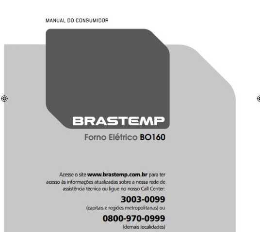 Forno Elétrico Brastemp 67 L Convecção - BO160 - capa manual