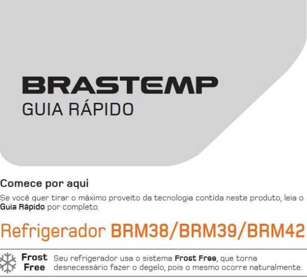 Manual de operação da geladeira Brastemp BRM39