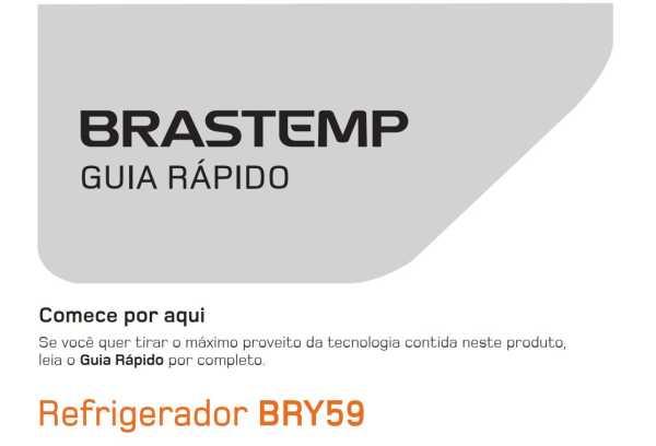 Manual de operação da geladeira Brastemp BRY59