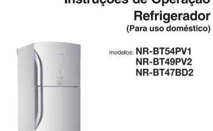 Manual de operação da geladeira Panasonic 483L Duplex NR-BT54