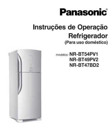 Manual de operação da geladeira Panasonic NR-BT54