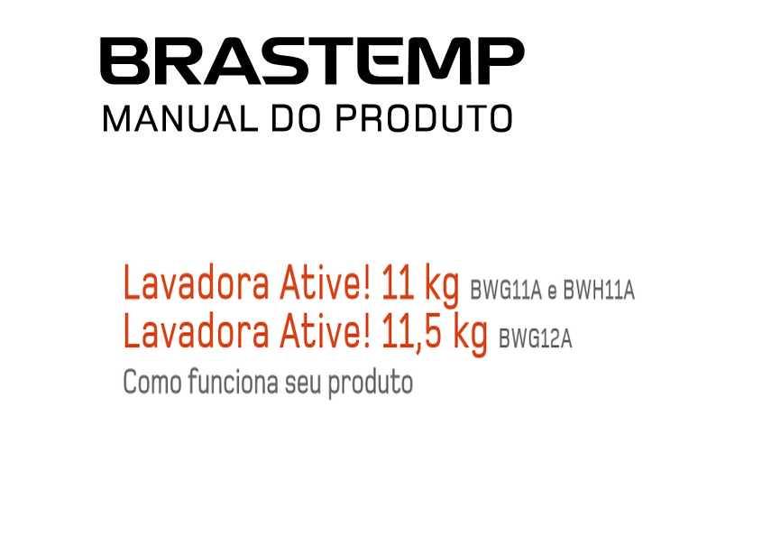 Lavadora de roupas Brastemp 11kg - BWG11 - capa manual