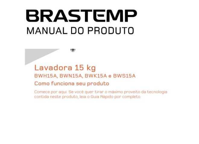 Manual de Operações da lavadora de roupas Brastemp BWN15