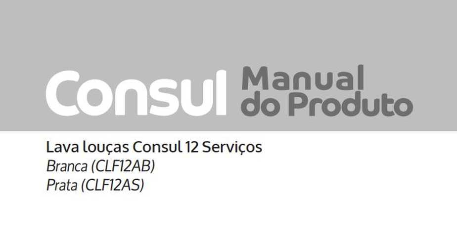 Lava louças Consul CLF12 - capa manual