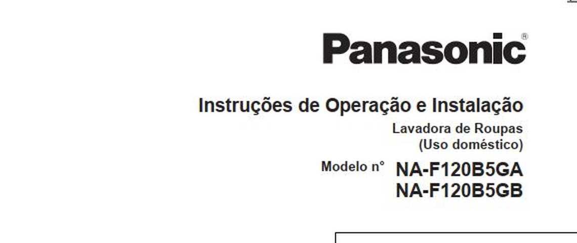 Manual de operação da lavadora de roupas Panasonic NA-F120