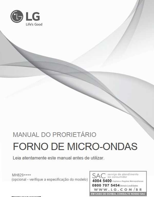 Manual de instruções de microondas LG 42 litros MH8297