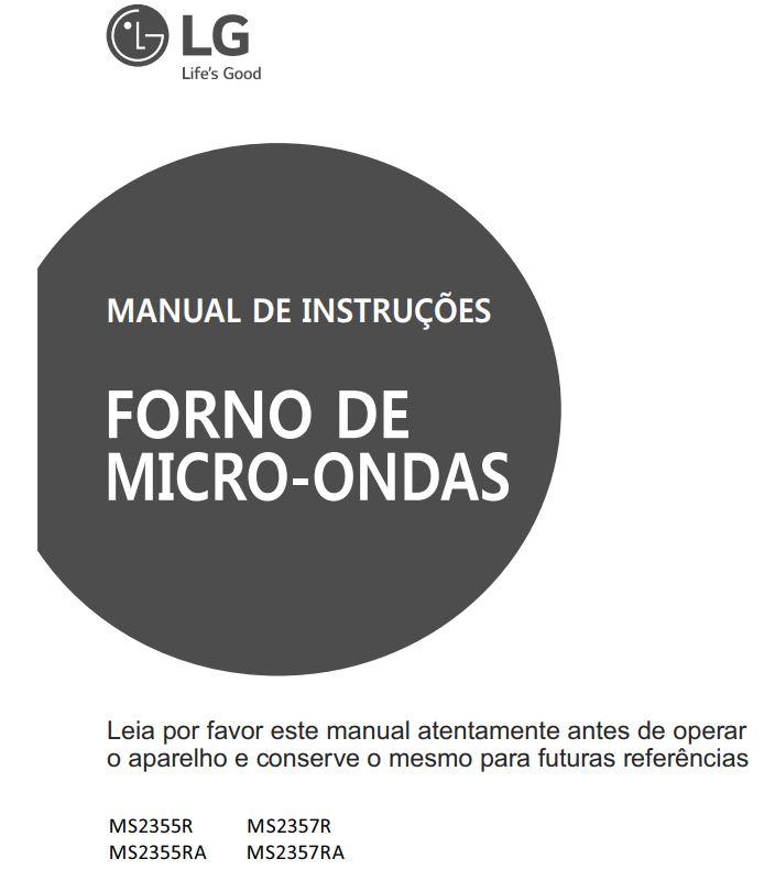 Manual de instruções de microondas LG 23 litros MS2355