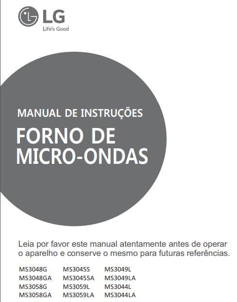 Manual de instruções de microondas LG 30 litros - MS3059