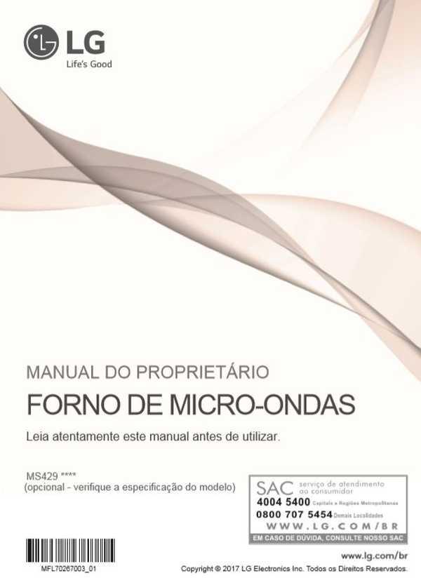 Manual de instruções de microondas LG 42 litros MS4297