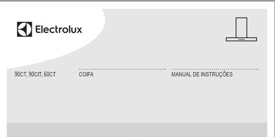 Manual de Instruções da Coifa Electrolux 90CT