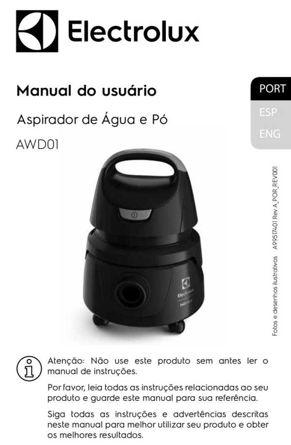 Aspirador de pó e água Electrolux - capa manual