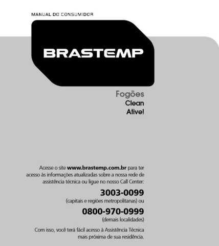Manual de Operações do fogão Brastemp 5 bocas BFD5QBR
