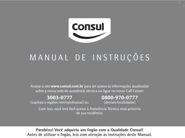 Manual de instruções do fogão Consul CF350