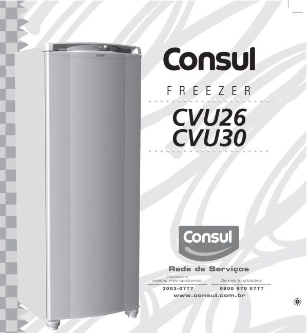 Manual de instruções do freezer Consul CVU26