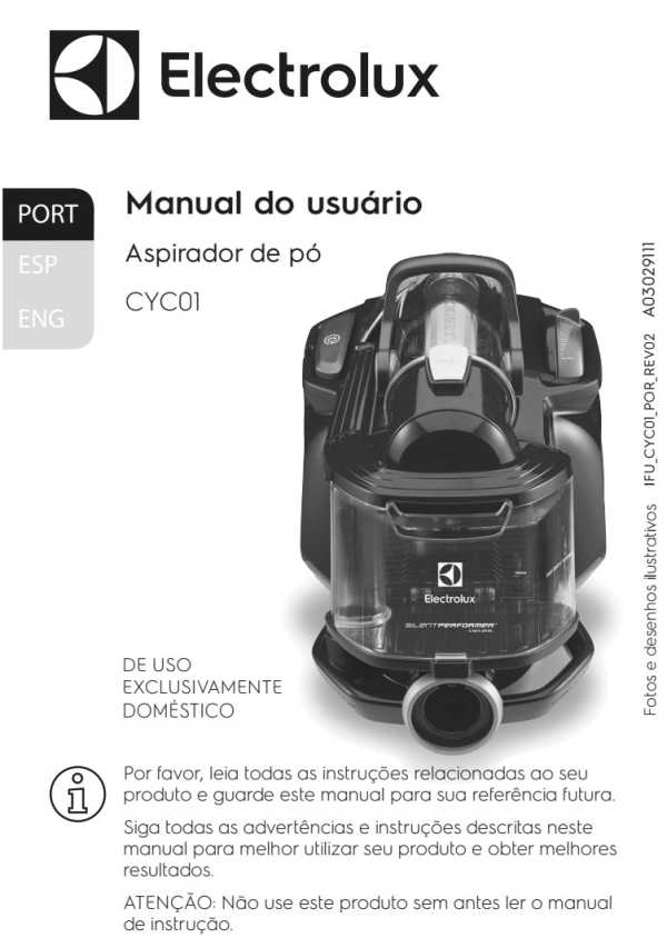 Manual de Instruções do aspirador de pó Electrolux CYC01