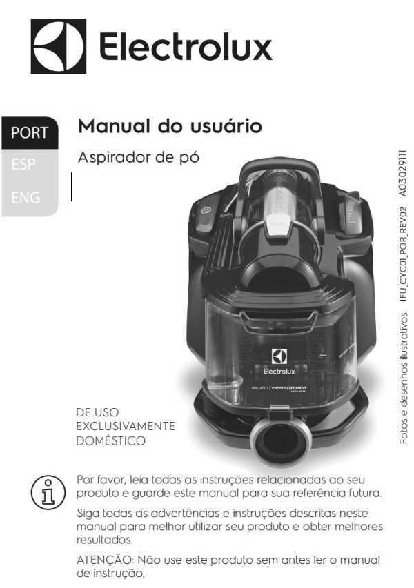 Manual de Instruções do aspirador de pó Electrolux