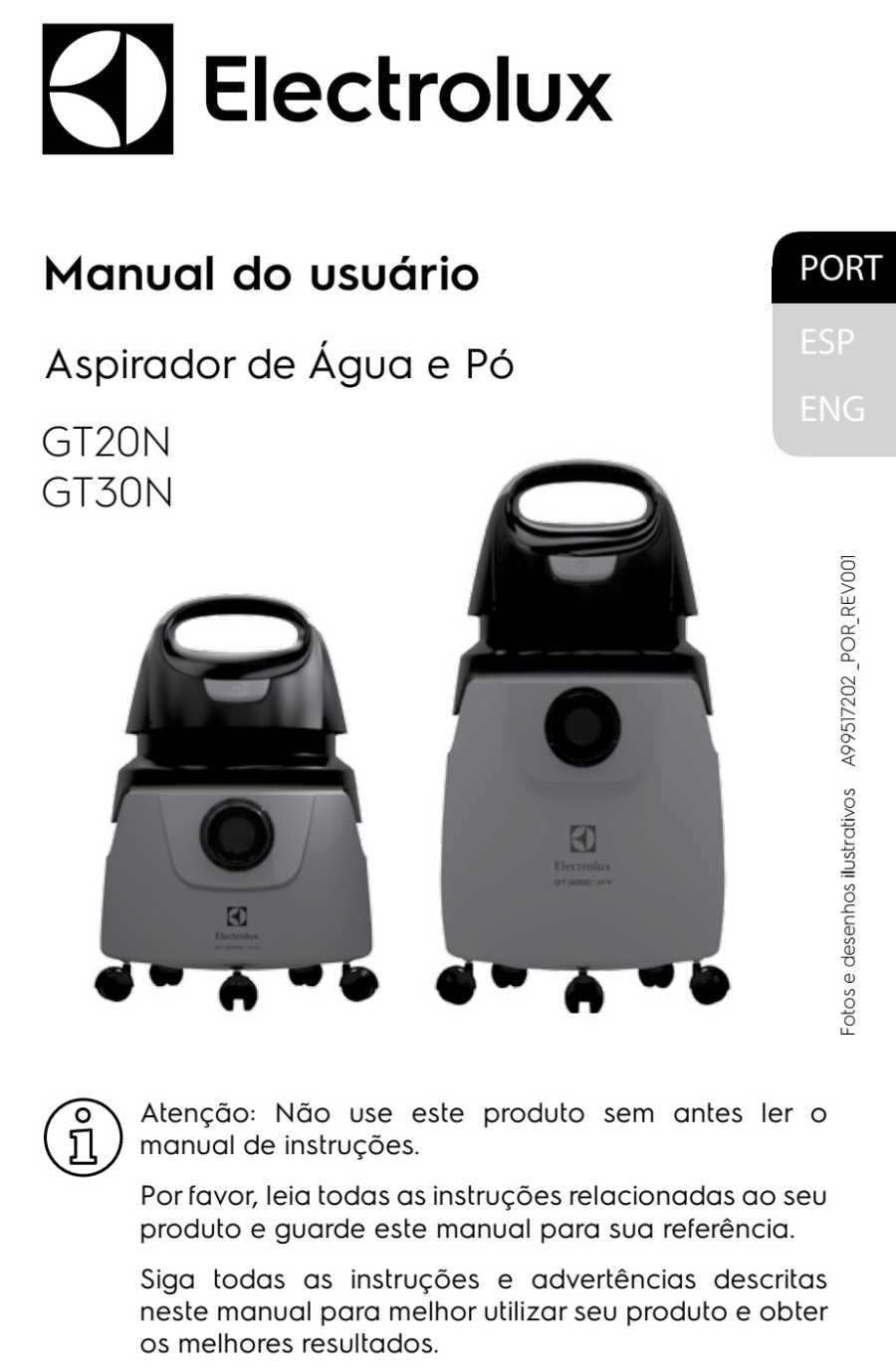 Manual de Instruções do aspirador de pó e água Electrolux Profissional GT20N