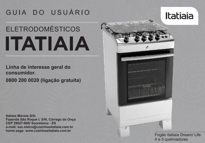 Manual de instruções do fogão Itatiaia Linha Life