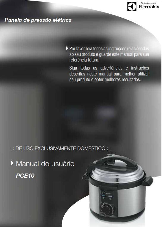 Manual de Instruções da panela de pressão Electrolux PCE10
