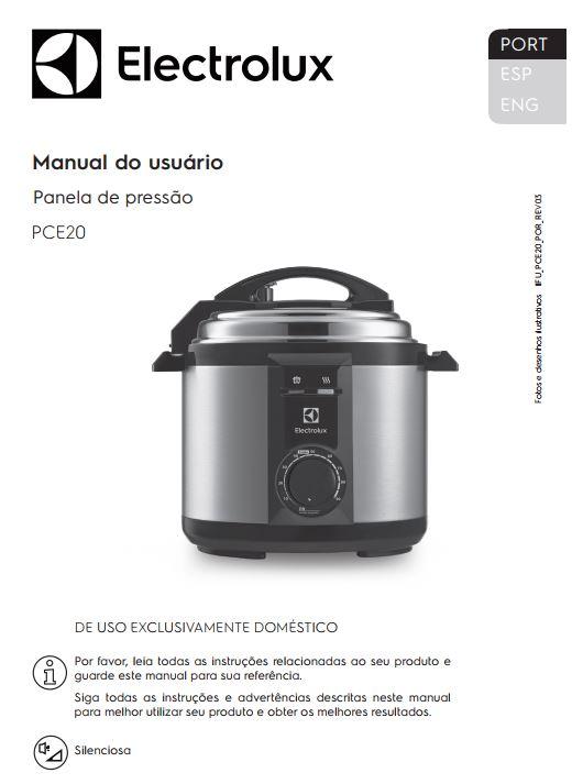 Panela de pressão elétrica Electrolux - capa manual