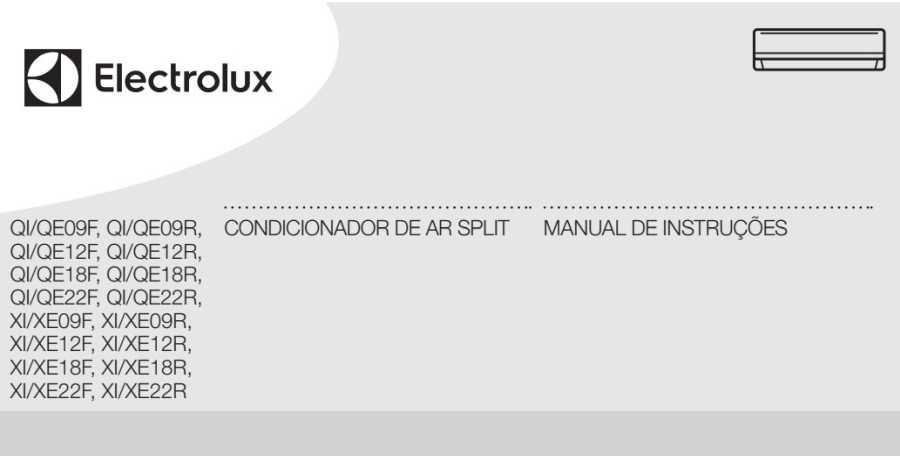 Manual de Instruções do ar condicionado Electrolux 22.000btu - QI/QE22F