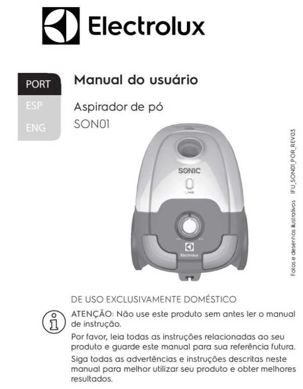 Aspirador de pó Electrolux - capa manual