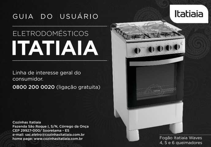 Manual de instruções do fogão Itatiaia Linha Waves