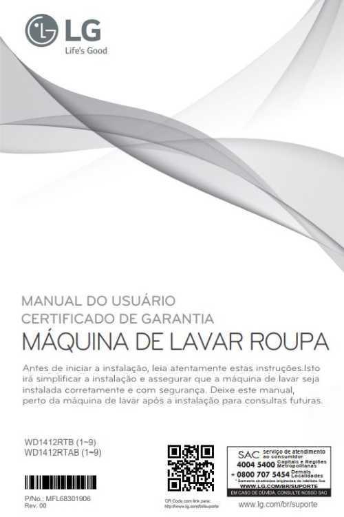 Manual de instruções da lava e seca LG 10,2 Kg - WD1412