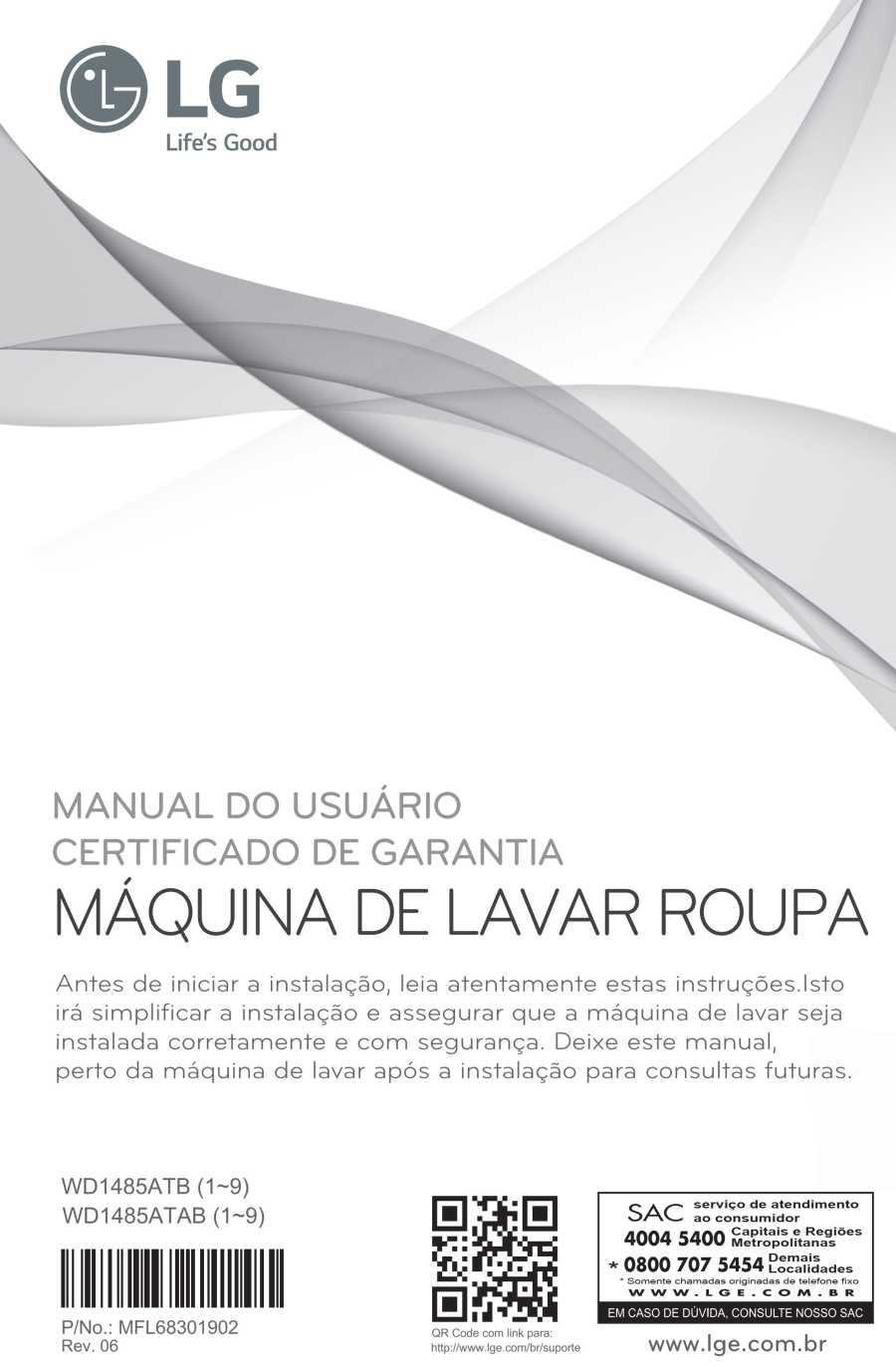 Manual de instruções da lava e seca LG 8,5 Kg - WD1485