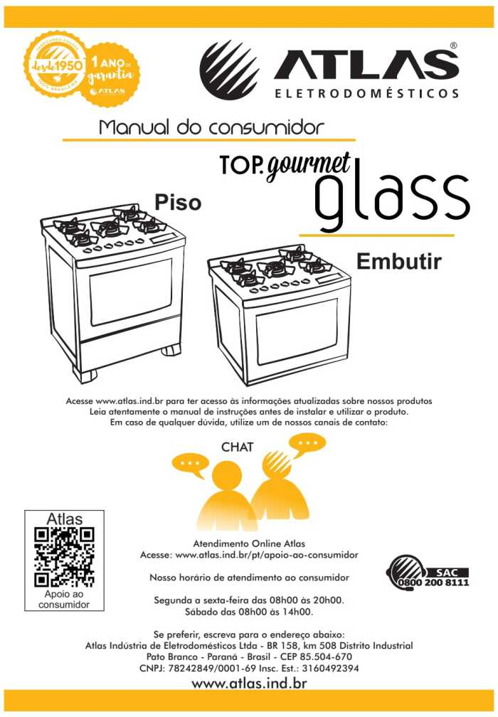 Manual do fogão de piso Atlas Top Glass Gourmet 5 bocas