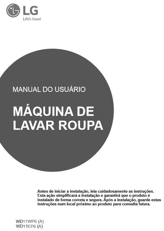 Manual de instruções da lava e seca LG 11 Kg - WD11