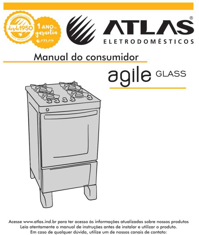 Manual do fogão de piso Atlas Agile Glass 5 bocas