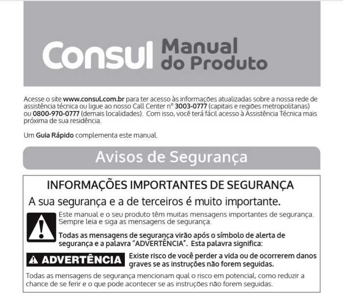 Manual de instruções da cervejeira Consul CZE12AF
