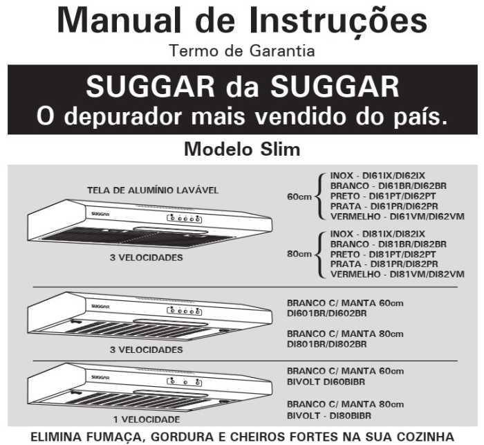 Manual de instruções do Depurador de Ar Suggar Slim 80 cm - DI81IX