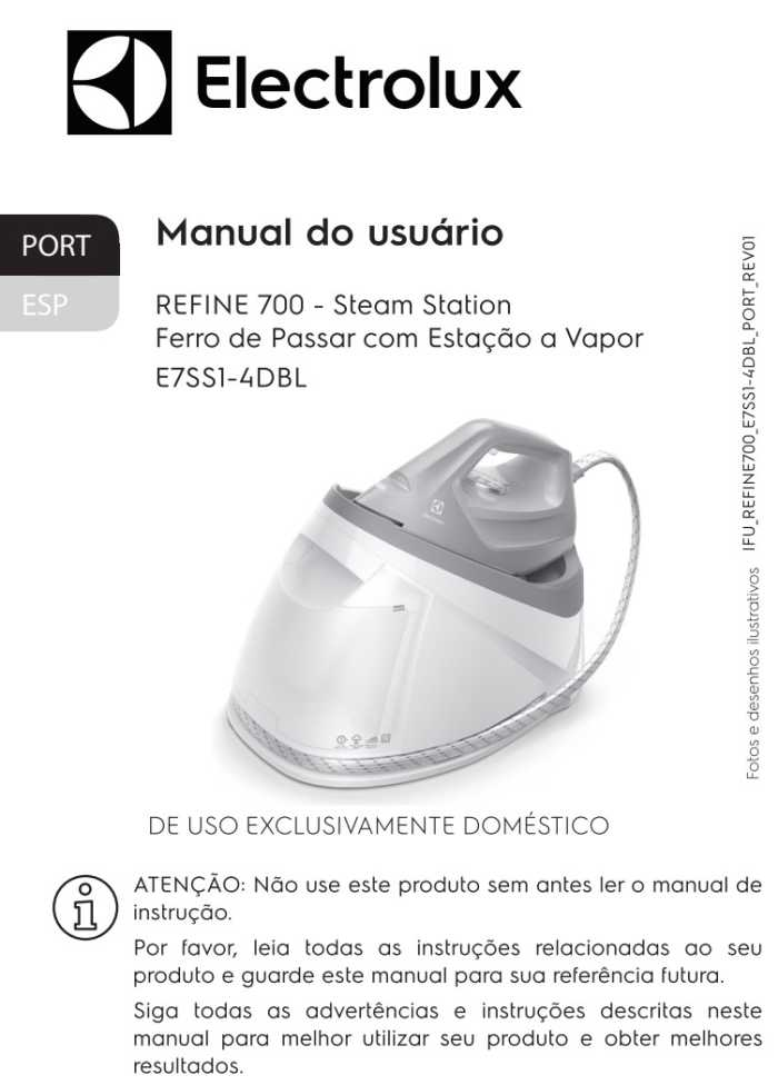 Manual de Instruções do ferro a vapor Electrolux E7SS1-4DBL
