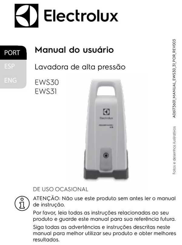 Manual de Instruções da lavadora de alta pressão Electrolux EWS30