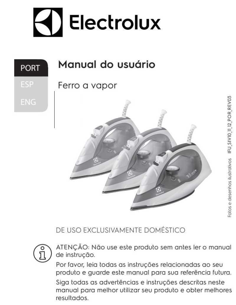 Manual de Instruções do ferro a vapor Electrolux