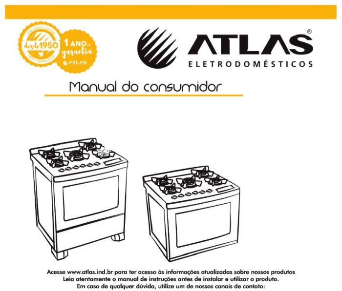 Manual de instruções do fogão Atlas