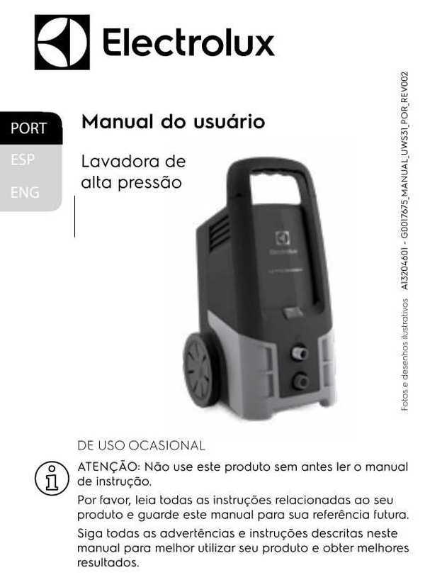 Manual de Instruções da lavadora de alta pressão Electrolux