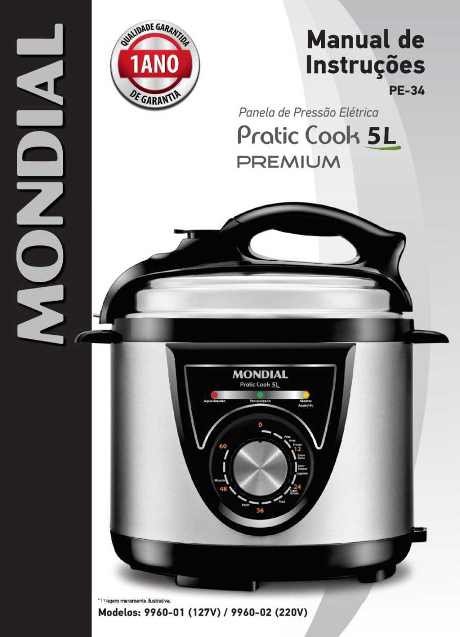 Manual da panela de pressão elétrica Mondial PE-34