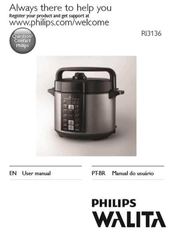 Manual da panela de pressão elétrica Philips Walita RI3136