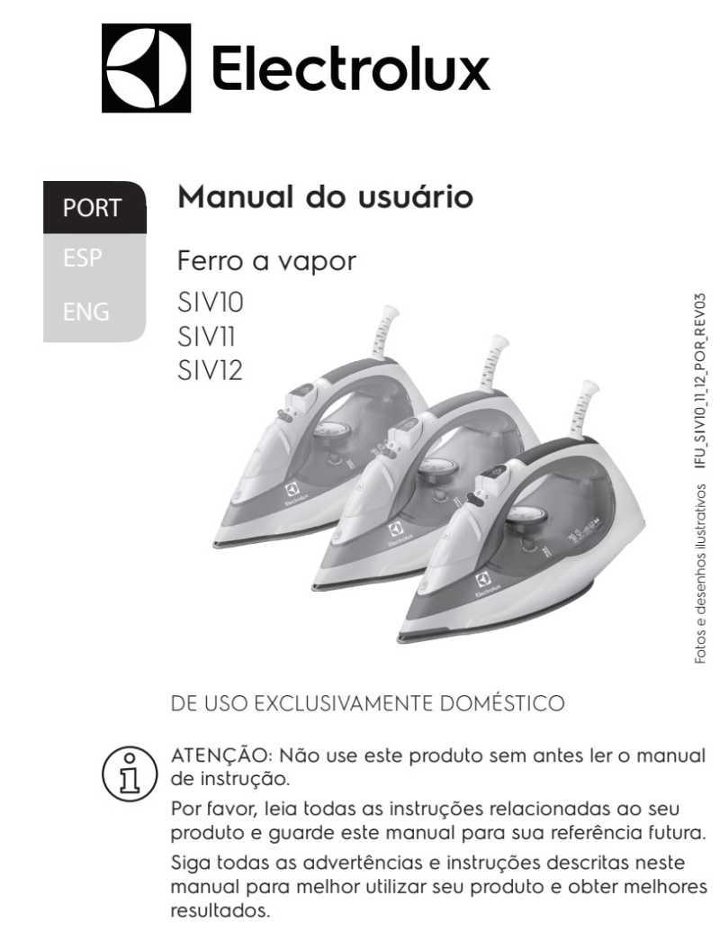 Manual de Instruções do ferro a vapor Electrolux SIV10