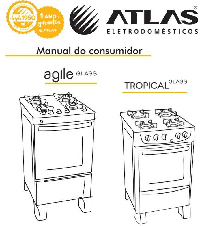 Manual do fogão de piso Atlas Tropical Glass Preto 5 bocas