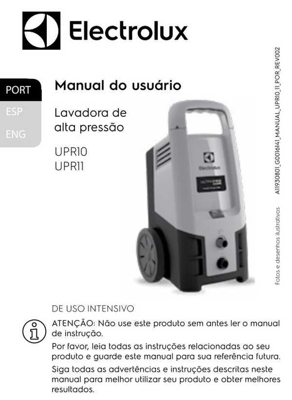 Manual de Instruções da lavadora de alta pressão Electrolux UPR11
