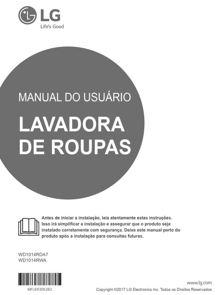 Manual de instruções da lava e seca LG 14 Kg - WD1014