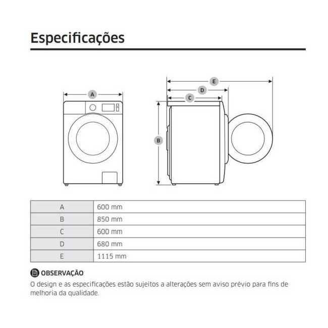Medidas da Lava e Seca Samsung