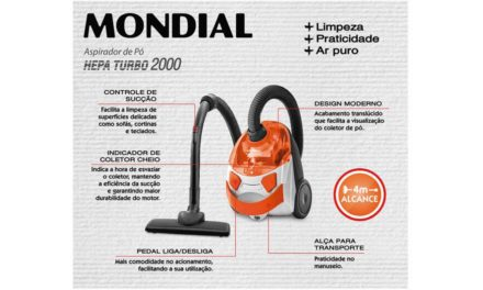 Medidas do Aspirador de pó Mondial Hepa Turbo Orange AP-15