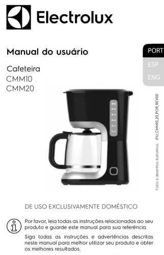 Manual de Instruções da cafeteira Electrolux CMM20